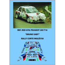 DECALS 1/32 PEUGEOT 205 T16 EVO1 (RALLY CORTE INGLES 1985)