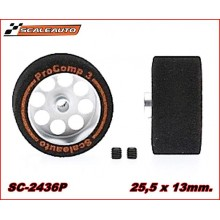 WHEELS & SPONGE PROCOMP-3 TYRES (25,5 x 13mm.)